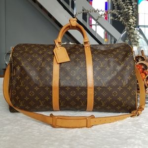 💕Authentic LV Keepall 50 Bandouliere Duffel/Travel with Shoulder Strap Monogram